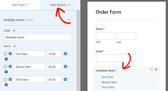 How to automatically send a wordpress order form email receipt wpforms order form email receipt order form field options thecheapjerseys Images