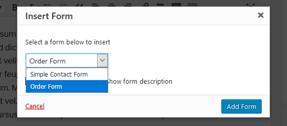 WPForms Order Form Email Receipt - Add Form Options