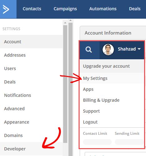 activecampaign account settings