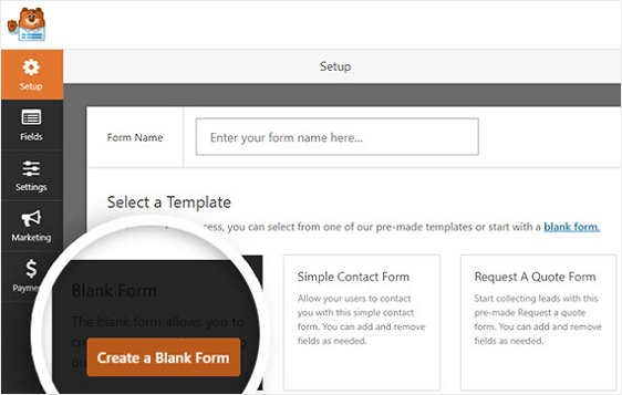 blank form template