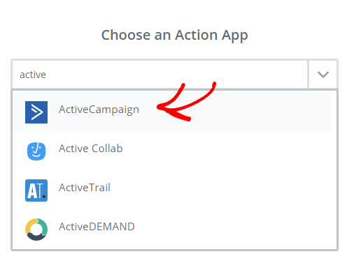 choose ActiveCampaign action app