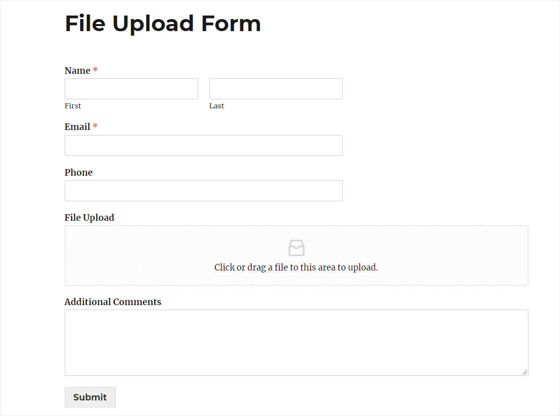 dropbox upload to website form