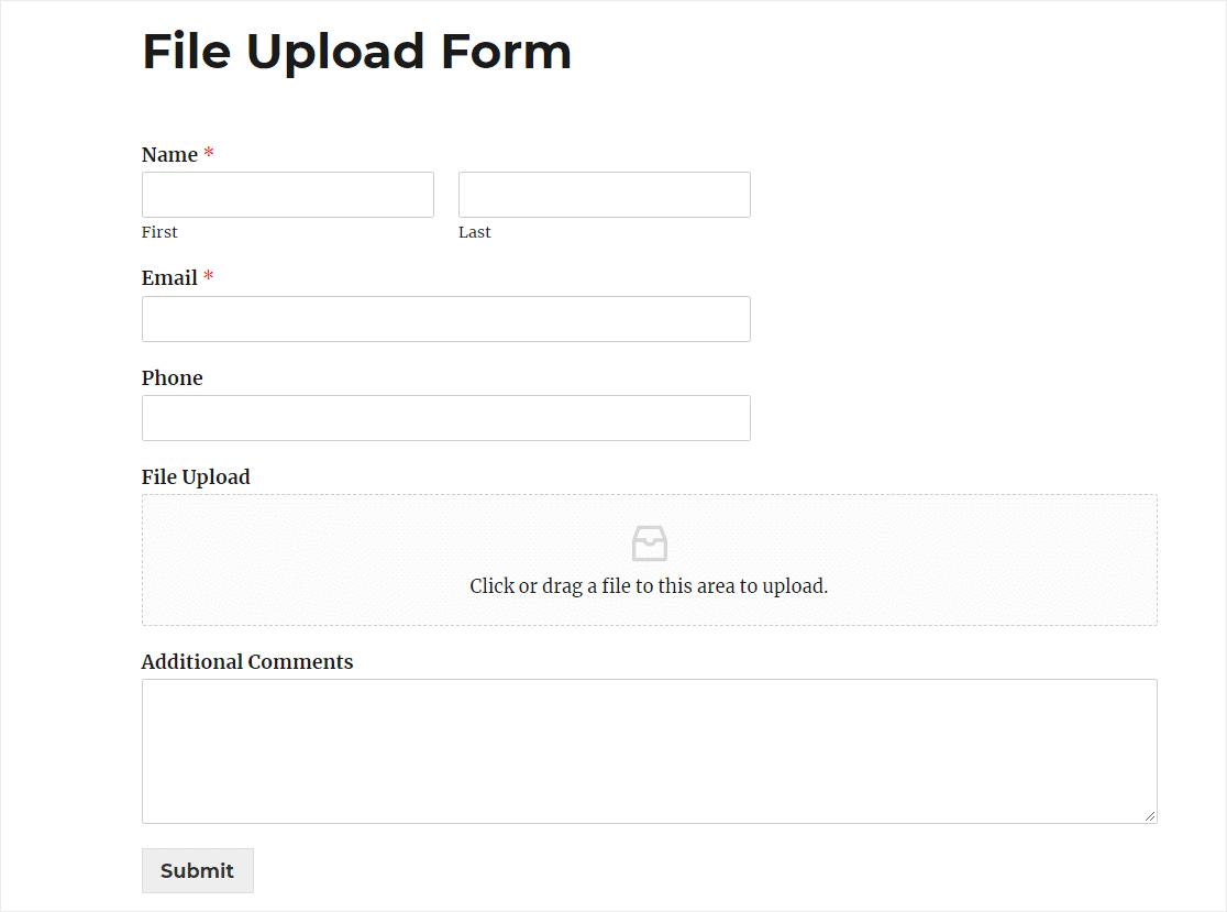 dropbox upload to website form
