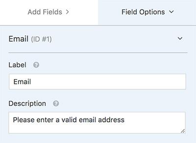 field label and description