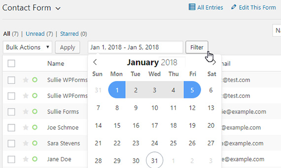 filter wordpress form entries by date