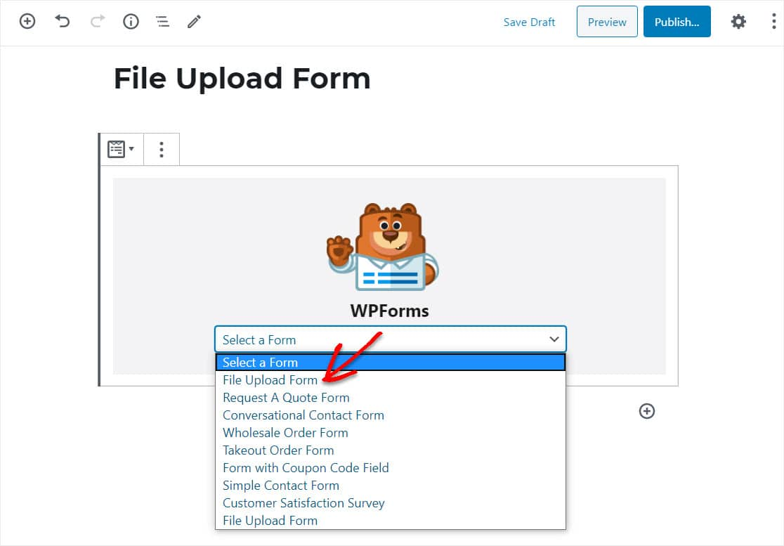 insert file upload form intro wordpress website