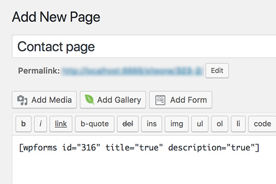 shortcode in the page editor