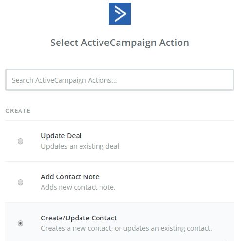 select activecampaign action
