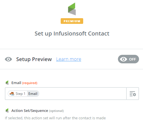 set up infusionsoft contact