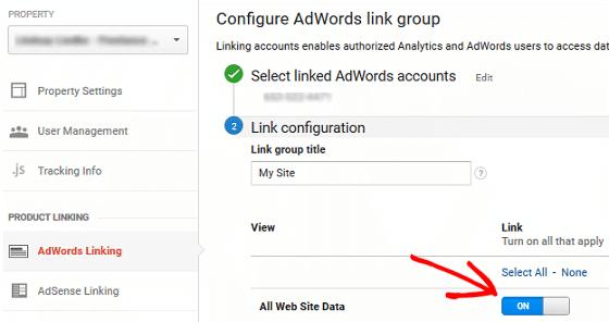 Ad Conversion Tracking - GA Ad Link Configure