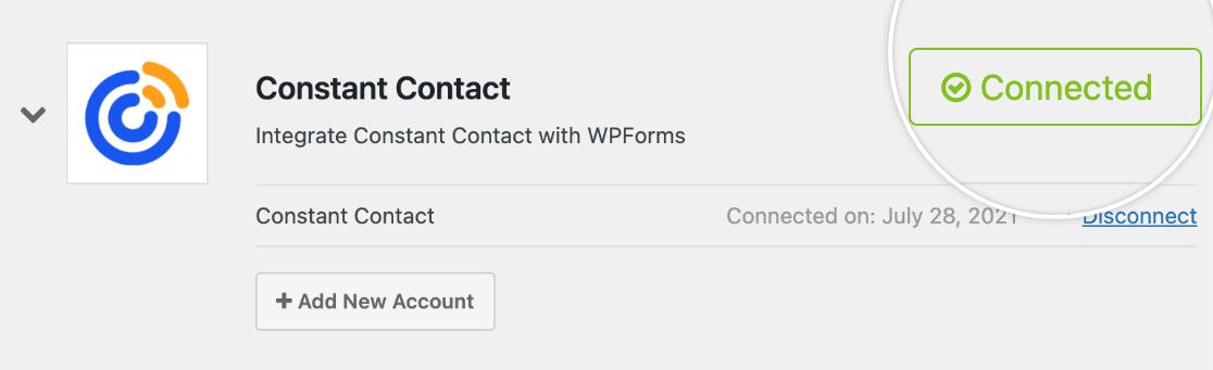 Constant Contact connection success message