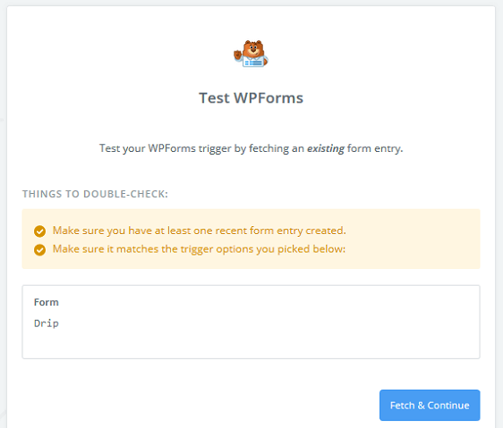 Create a Drip Form in WordPress - Test Entry, Fetch and Continue