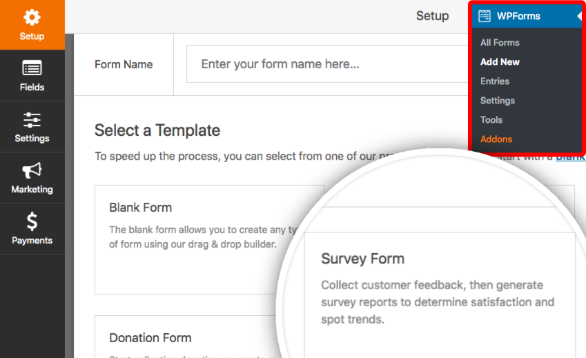 Create a new form with Survey Form template