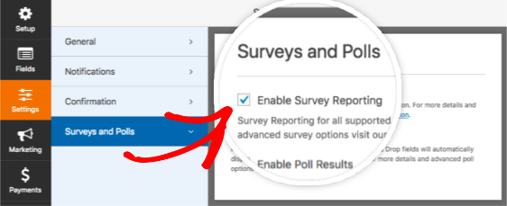 Enable Survey Reporting for a form