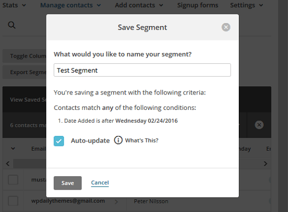 Segment MailChimp Lists - Save as Segment with Name
