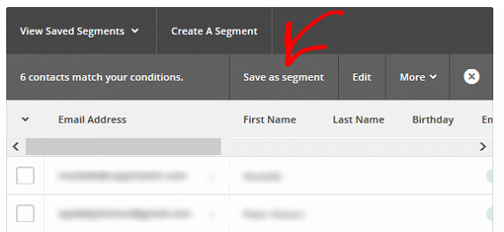 Segment MailChimp Lists - Save as Segment