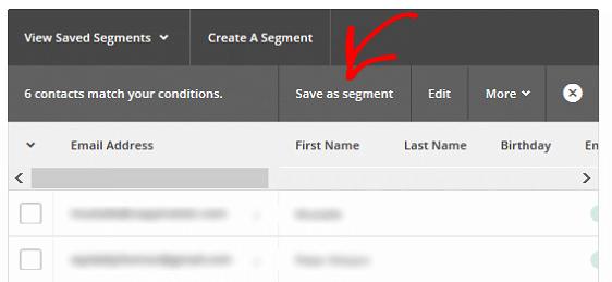 Segment MailChimp Lists - Save as Segment