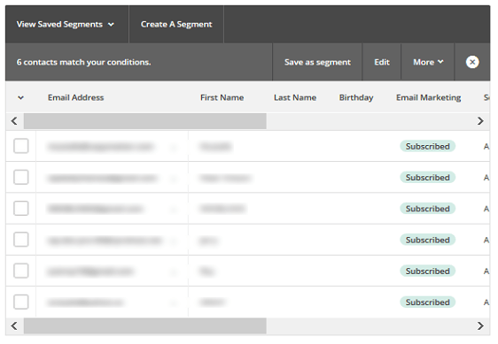 Segment MailChimp Lists - Segment Preview