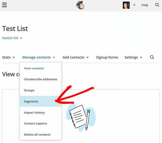 Segment MailChimp Lists - Segments Menu Item