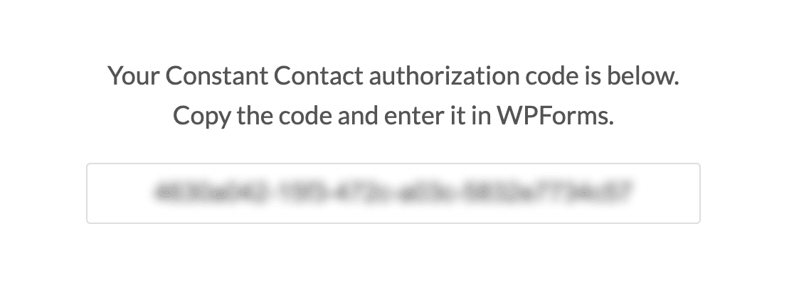 The WPForms Constant Contact authorization code