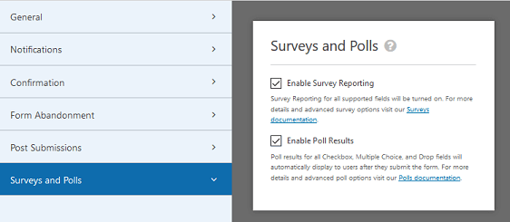 WPForms Surveys and Polls Addon- Enable Survey Reporting