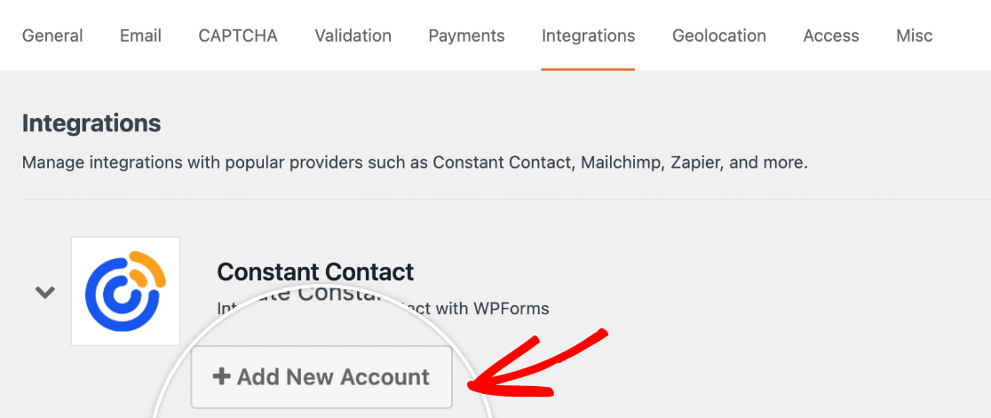Adding a new Constant Contact account to WPForms