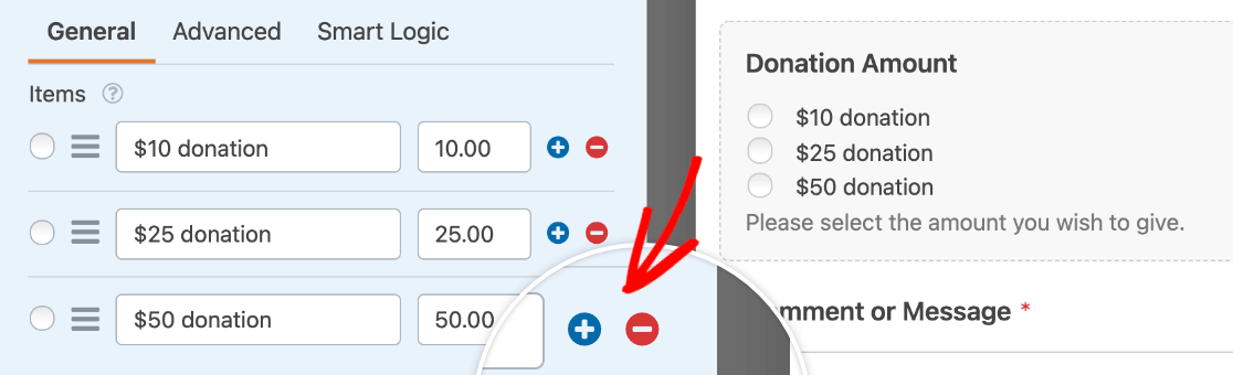 The buttons to add or remove items from a Multiple Items field