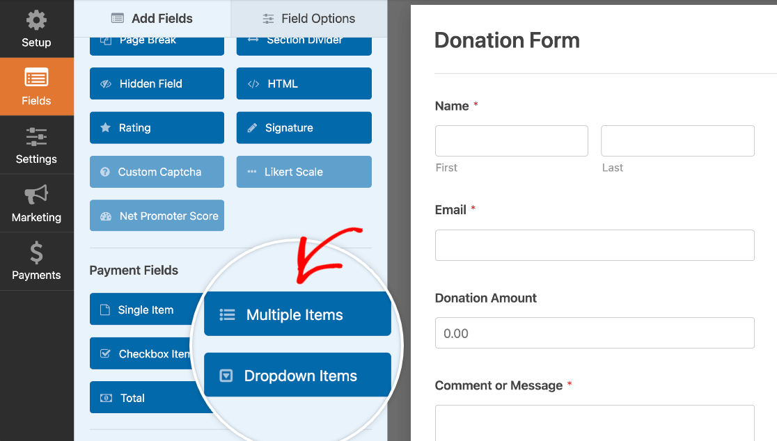 Adding a Multiple Items field to a donation form