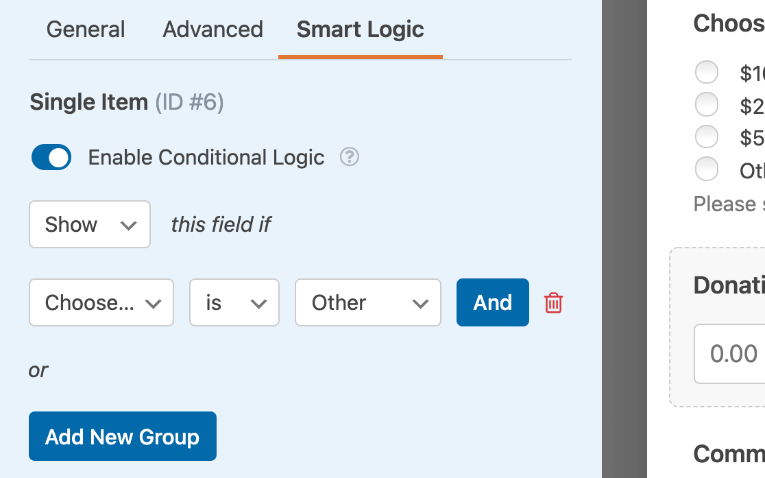 Setting up the conditional logic rule for the Donation Amount field