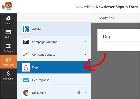 drip marketing settings