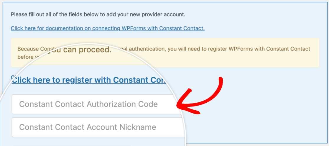 Adding the Constant Contact authorization code to the WPForms integration settings
