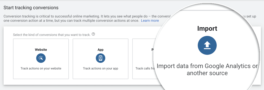 Click the Import image in analytics