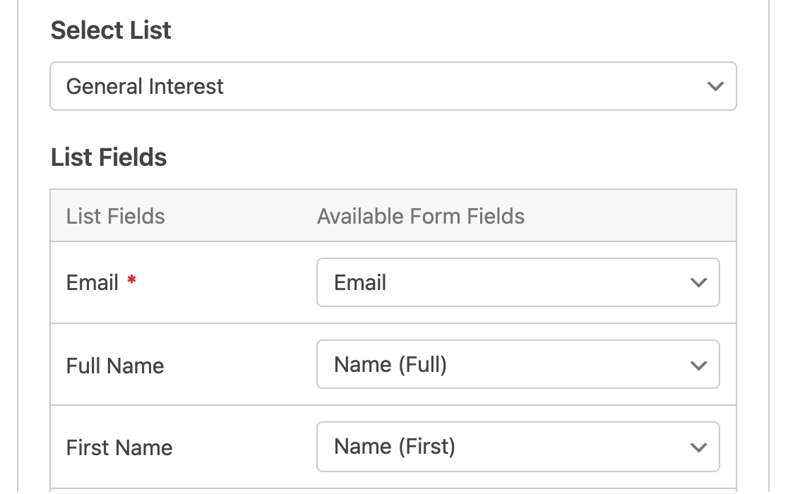 Mapping fields from your form to information in Constant Contact