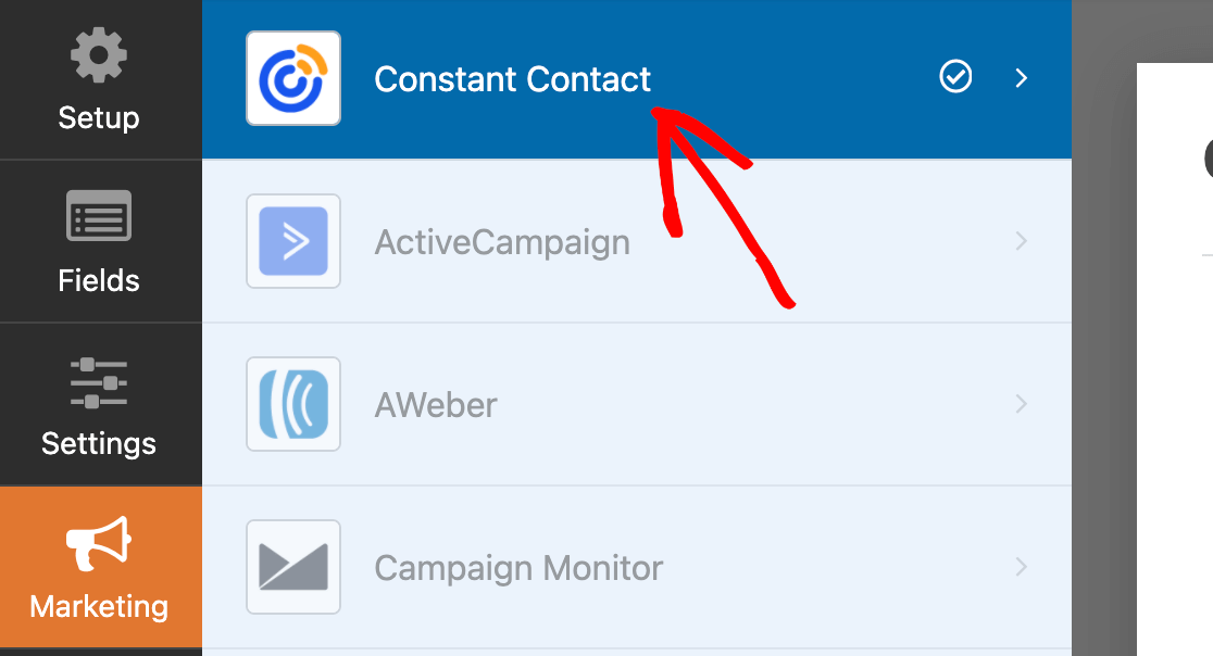 Accessing the Constant Contact settings in the Marketing tab of the form builder