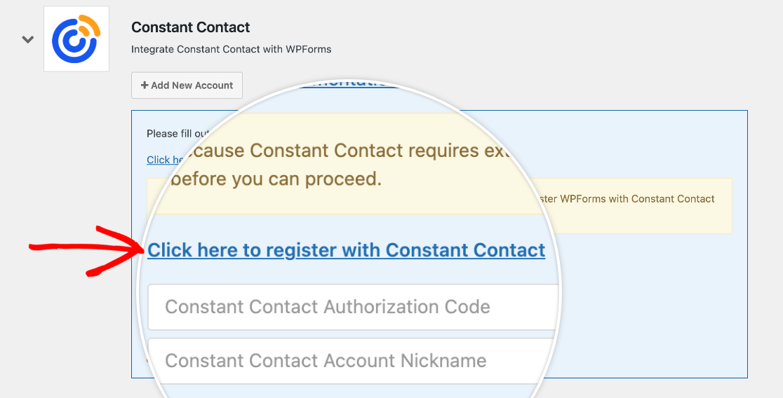 Registering WPForms with Constant Contact