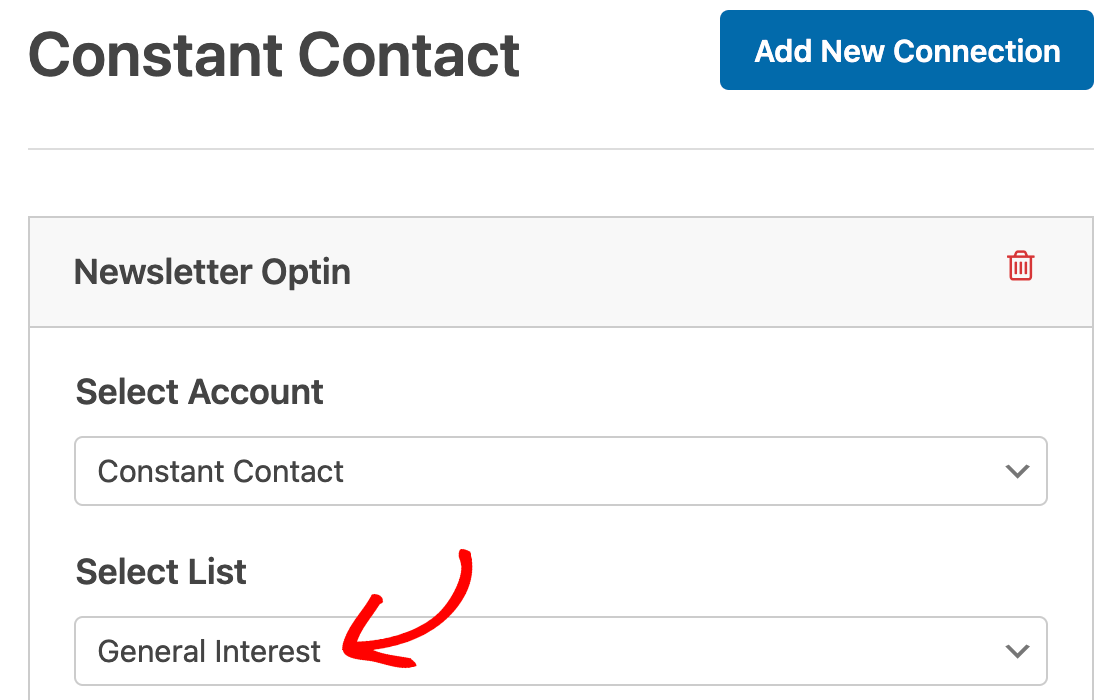 Selecting a Constant Contact list to add contacts to