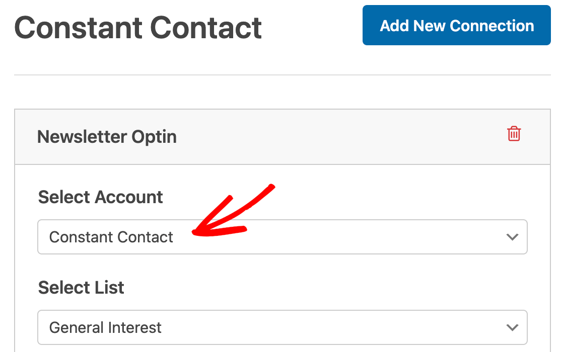 Selecting a Constant Contact account for a form marketing connection