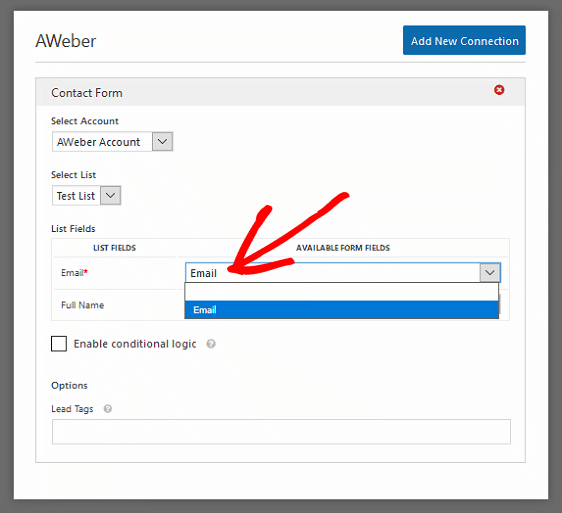 AWeber WordPress Contact Form Connection Settings