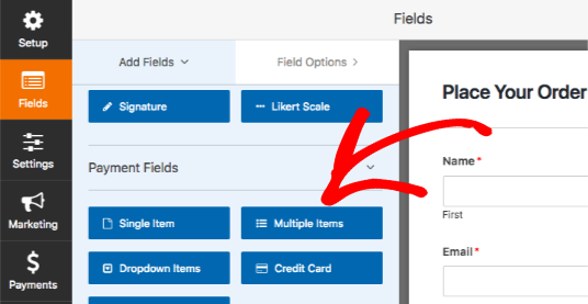 Add Multiple Items field to form