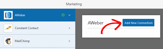 Add an AWeber Signup Checkbox - Add New Connection