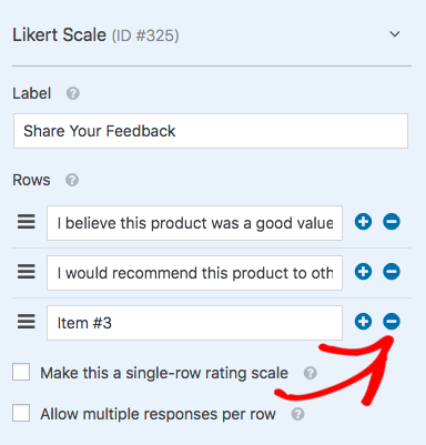 add row options to likert scale field