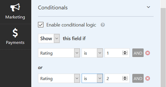 Conditional Logic Rules for Poor Rating