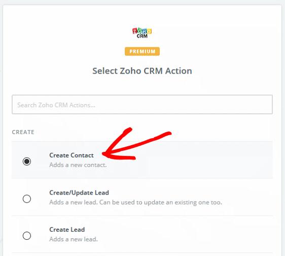 Create a Contact in Zoho - Create Contact
