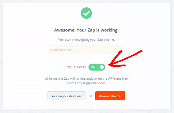 Create a Contact in Zoho - Turn Zap On