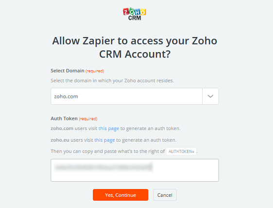 Create a Contact in Zoho - Zoho CRM Authorization Token