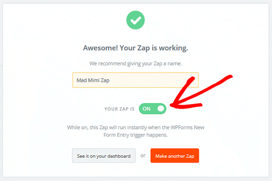 Create a Mad Mimi Subscribe Form - Name Zap