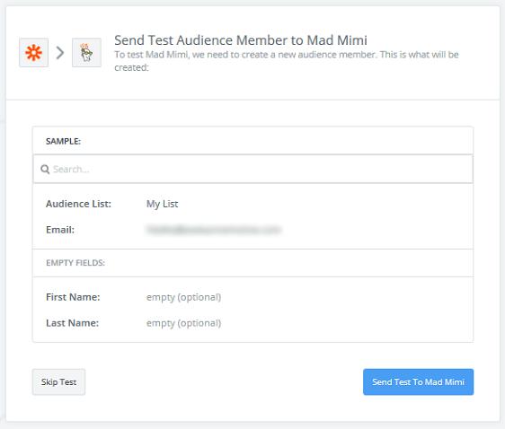 Create a Mad Mimi Subscribe Form - Send Mad Mimi Test