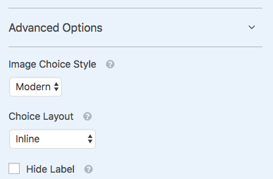 Customization options for image choices field