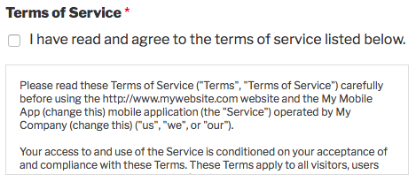 Example of terms of service field