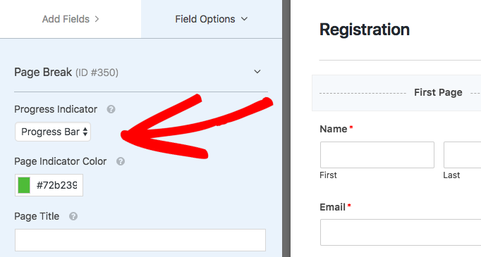 First Page settings for multi page form